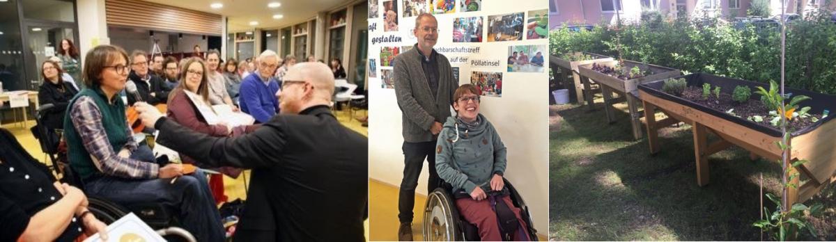Melanie Bergzoll und Sven Siebert von Ois Inklusiv. Eine Frau im Roll·stuhl und ein Mann mit Mikrofon sprechen miteinander.t: Hochbeet im Nachbarschafts•treff Giesing.