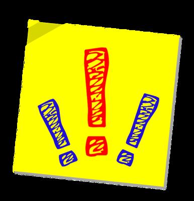 Bild mit gelbem Hintergrund und drei bunten Ausrufezeichen.