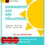 Plakat vom Sommerfest auf der Pöllat·insel