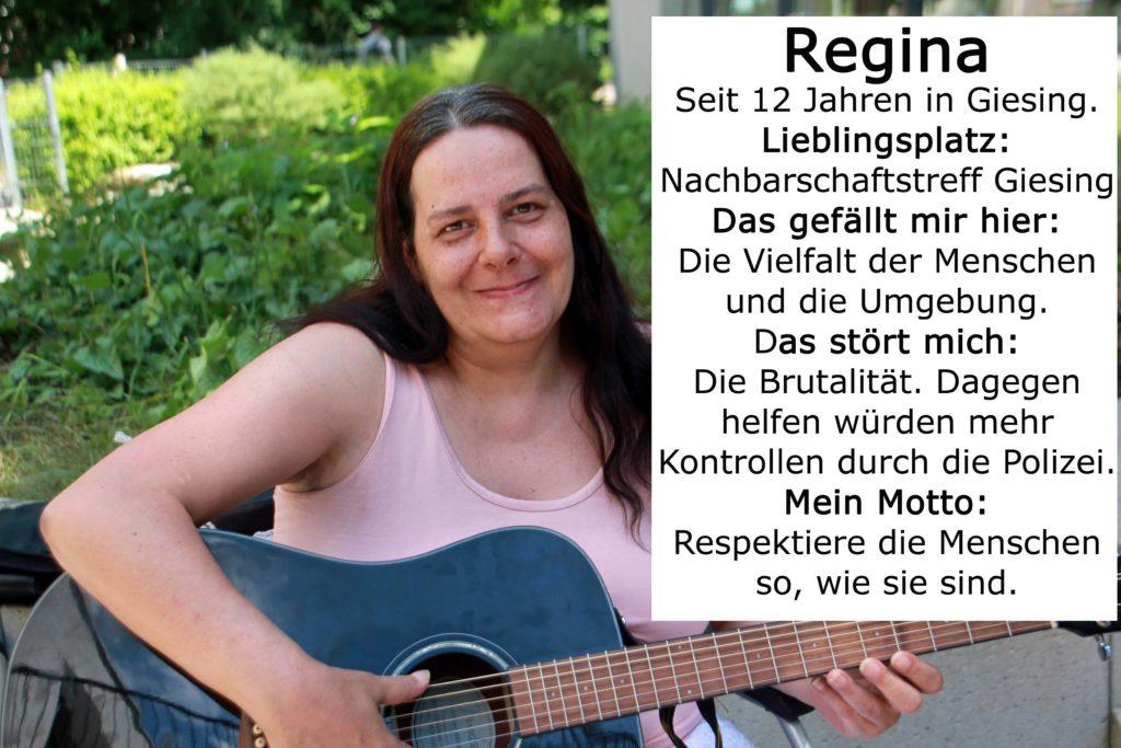 Foto von Regina mit Gitarre.